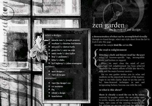 Screenshot of Door to my Garden CSS Zen Garden entry