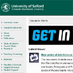 Screenshot of University of Salford home page